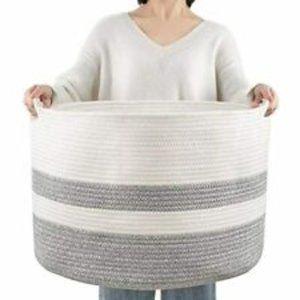 Extra Large Cotton Rope Basket Handles Grey Cream